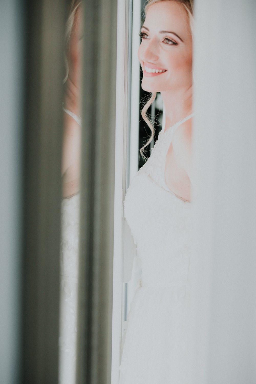 a bride in the mirror